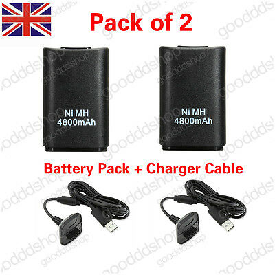 2X 4800mAh Rechargeable Battery Pack USB Charger Cable For Xbox 360 Controller