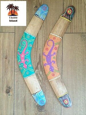 2 Traditional Aboriginal Hand Painted Wooden Boomerangs Display Toy Outdoor Play