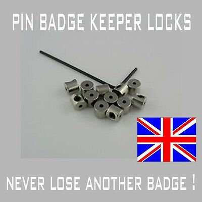 12 Locking pin backs/pin badge keepers / savers fast delivery UK supplier