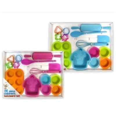 14 Piece Childrens Silicone Bakeware Baking Set - Cupcake Cake Cutters Cookie