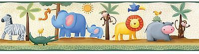 Jungle Adventure Animal Peel & Stick Wallpaper Border Child Boy Kids Room Decor