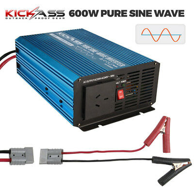 KICKASS 600W Pure Sine Wave Inverter 12V DC to 240V AC Caravan Camping 4x4