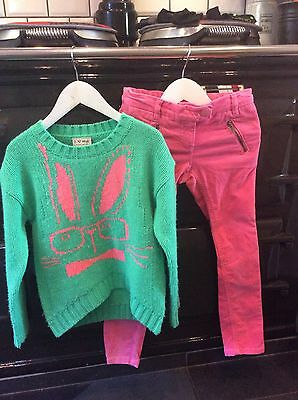 NEXT Girls Pink Corduroy Skinny Trousers Lime Green Jumper Age 8 Years Ex Cond
