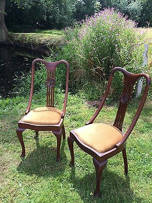 Pair of mahogany  Edwardian occasional Chairs with 'pop-out'seat pads