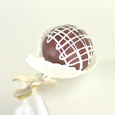 Chocolate Candy 1.5 Inch Glass Clip On Christmas Ornament Made Czech T02a