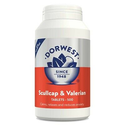 Dorwest Herbs Scullcap & Valerian 500 Tablets Calms Fireworks Nerves Travel Sick