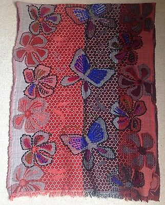 Stunning Indian Red Blue Brown Wool Shawl With Flower & Butterfly Design