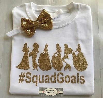 Squad Goals Princess Glitter Tee Sirt, ONLY Headband NOT Included Princess T- Sh