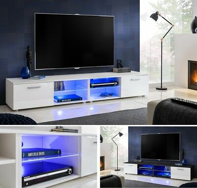 Modern TV Stand Cabinet High Gloss TV Unit Entertainment Lowboard T32-200cm+LED