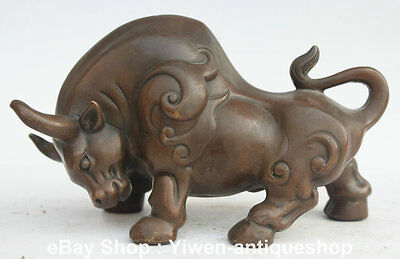 """8"""" Chinese Bronze FengShui Zodiac Year Bull Oxen Cattle Strong Animal Statue"""