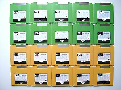 Job Lot of 20 Iomega Zip 100 MB Disks - PC Formatted - Orange & Green - Used