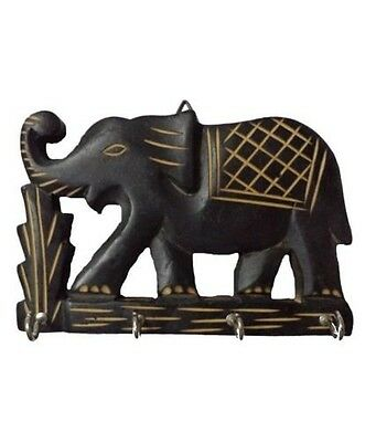 Affaires Elephant Wooden Hand Carved Wall Hanging Key Holder with 4 Hooks Home