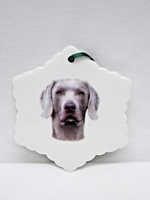 Weimaraner Dog Porcelain Snowflake Christmas Tree Ornament Fired Head Decal