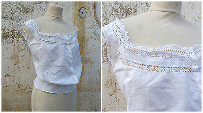 Victorian 1890 French handmade white cotton embroidered blouse CACHE CORSET