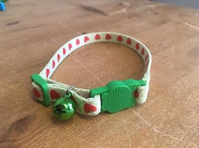 CHARITY LISTING Cat Kitten Collar Adjustable Green Strawberry
