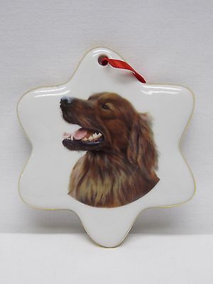 Irish Setter Dog Snowflake Christmas Tree Ornament Fired Head Decal-H