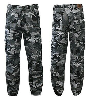 Urban Camouflage motorcycle Cargo pants with Kevlar® liner and CE rated armor