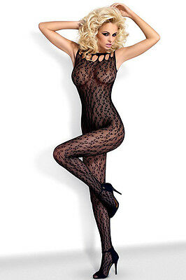 QUALITY Black Leopard Net Bodysuit BNWT Tights Catsuit Bodystocking Lingerie