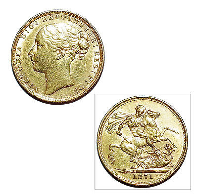 Pre-Owned 1871 Full Sovereign 22ct Gold Coin. Queen Victoria Young Head