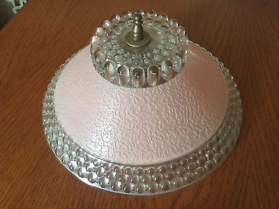Vintage ART DECO Pink Hobnail Glass Light Fixture Lamp Shade