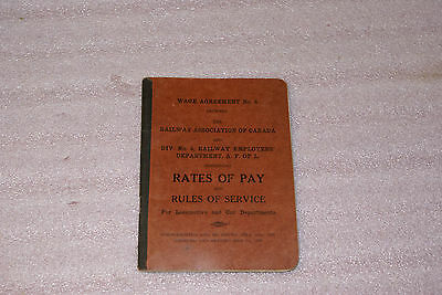 1929 Wage Agreement No 6 Railway Association of Canada Div 4 Locomotive Book