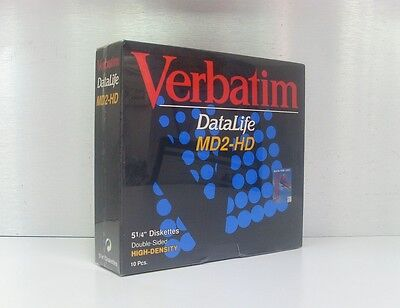 "10 Verbatim Datalife MD2-HD 5 1/4"" Diskettes 2S HD Double Sided High Density"