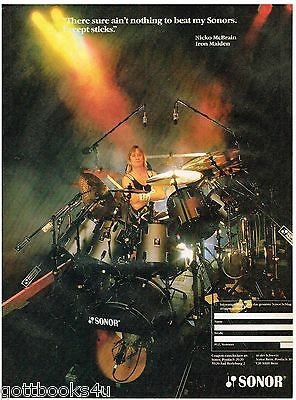 Sonor Drums - Nicko McBrain of Iron Maiden - 1987 Print Advertisement