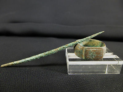 Ancient Roman Bronze Writing Stylus & Wide Band Ring Size 5. c. 100-400 AD.