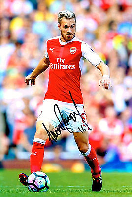 AARON RAMSEY ARSENAL FC HAND SIGNED PHOTO AUTHENTIC GENUINE + COA - 12x8