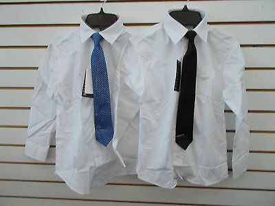 Boys Van Heusen $20 White Dress Shirt w/ Blue or Black Clip-On Tie Size 10