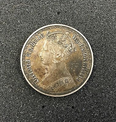 1879 Great Britain Queen Victoria Gothic 1 Florin .925 Silver 2 Shillings #2749