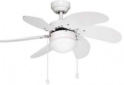 LE 76cm Ceiling Fan With 6 Wooden Blades And Light Kit, Reversible Classic Fan