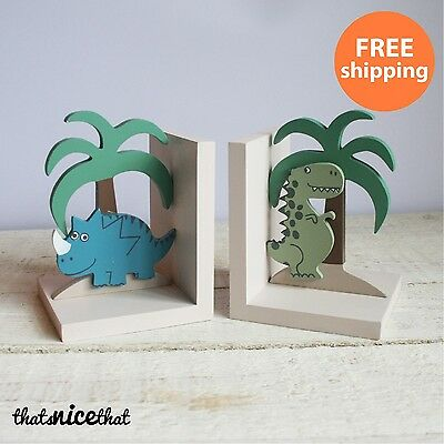 Dinosaur Bookends Wooden Kids Room Jurassic Childrens Bedroom Gift Books Park