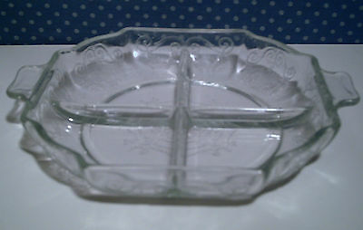 Indiana Lorain Basket Clear Glass Square Four Part Relish Dish