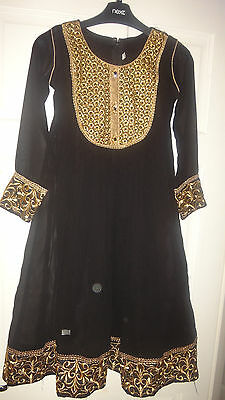 Gorgeous Black & Gold Girl's Churidar Suit Indian Bollywood Fancy Sz 30 (7-8 Y)