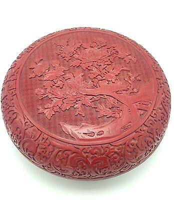 Rare And Huge 20th C Chinese Carved Cinnabar Box