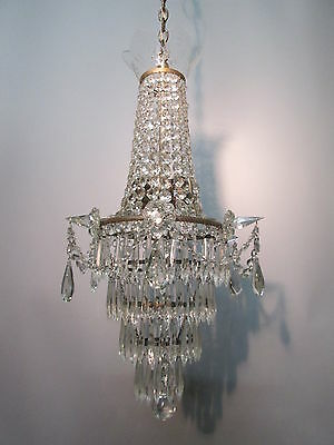 """Vintage Antique Large Silver Plate Empire Waterfall Wedding Chandelier  28 1/2"""""""