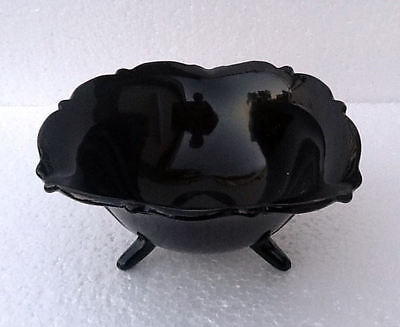 Smith Glass Co Mt Pleasant Black Amethyst Mayonaise 3 Footed Bowl