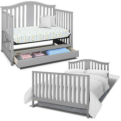 Convertible Baby Crib 4 in1 Mattress Toddler with Drawer Nursery Bed Pebble Gray