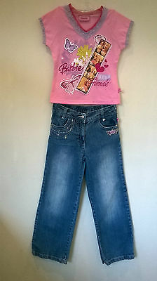 Barbi Aged 7-8 years Girls 2 piece embroidered denim jeans and top outfit