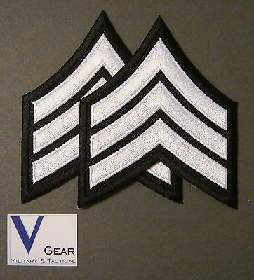 Sergeant Seargent SGT Chevron Patch POLICE SECURITY 1 Pair 2 Patches Black&White