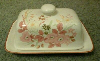 """Vintage Boots China Pottery """"hedge  Rose"""" Butter Dish Flowers"""