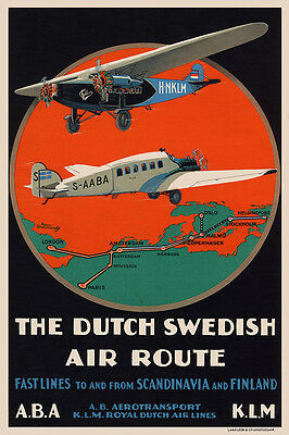 Vintage 1920s Aviation Poster Junkers AB G23 Fokker FVIIA Dutch Swedish Retro