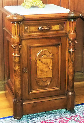 c1870 Renaissance Victorian nightstand, half commode, Th Brooks, burl walnut,23w