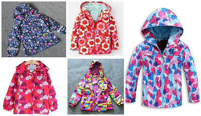 Girls Rain Coat Jacket Hood Windbreaker Spring Summer Mac Packable Age 2 to 11
