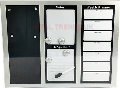 Large Magnetic Whiteboard Memo Notice Board Weekly Planner Organiser