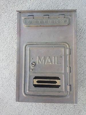 Vintage signed CORBIN BRASS PORCH MAILBOX unpolished, Made in USA wonderful!