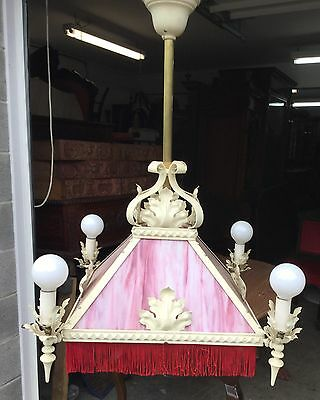 Large Victorian Slag Glass Chandelier