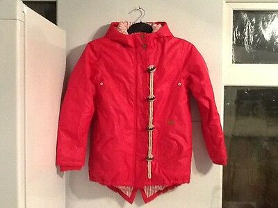 Girls Next coat age 12 years red thick warm hooded coral pink fab