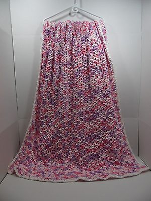 "Hand Crochet Knitted Afghan Throw Blanket 45"" x 64"" Pink Lavender White Edge"